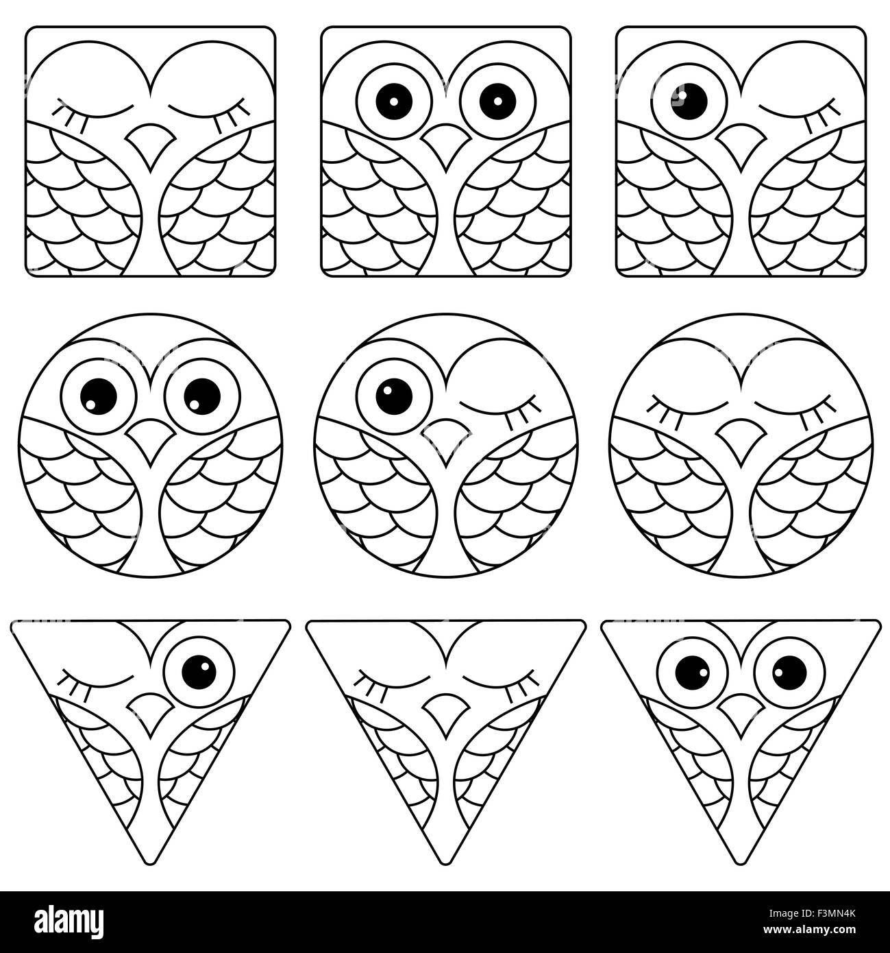 set of nine funny black and white owl faces placed in geometric shapes square circle and triangular and isolated on a white ba