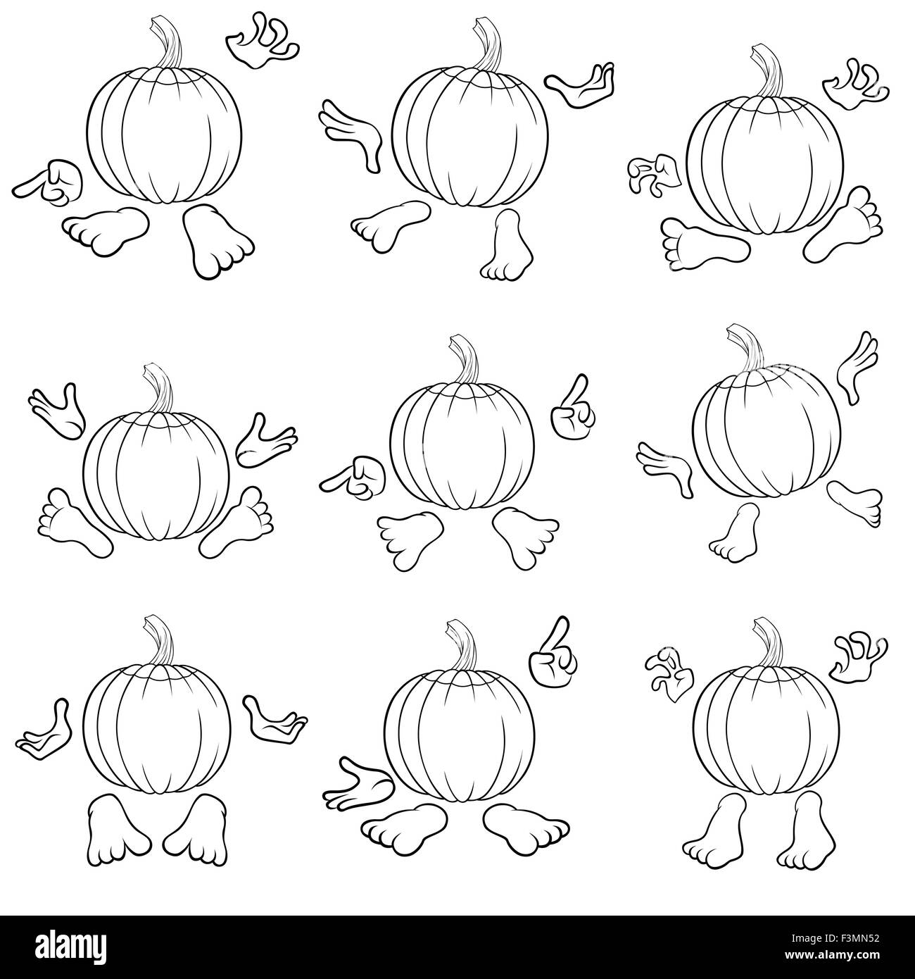 halloween set of nine outlines of funny pumpkins that gesticulate
