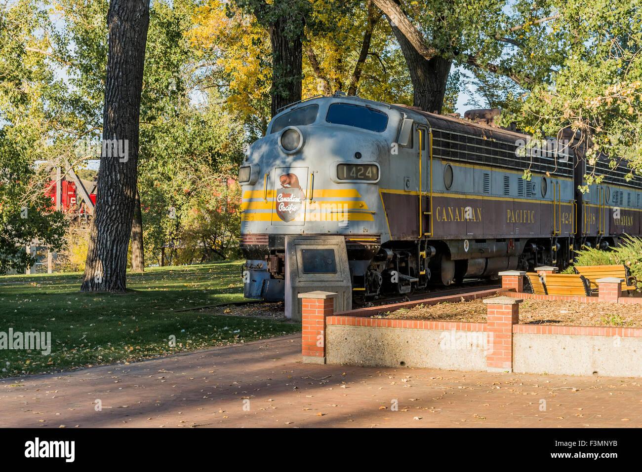 Old Canadian Pacific locomotive, Medicine Hat, Alberta, Canada - Stock Image