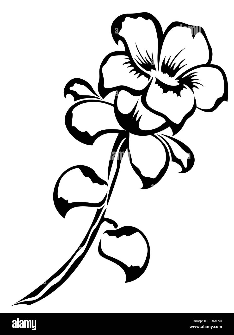 Black Outline Of Single Flower Isolated On A White Background