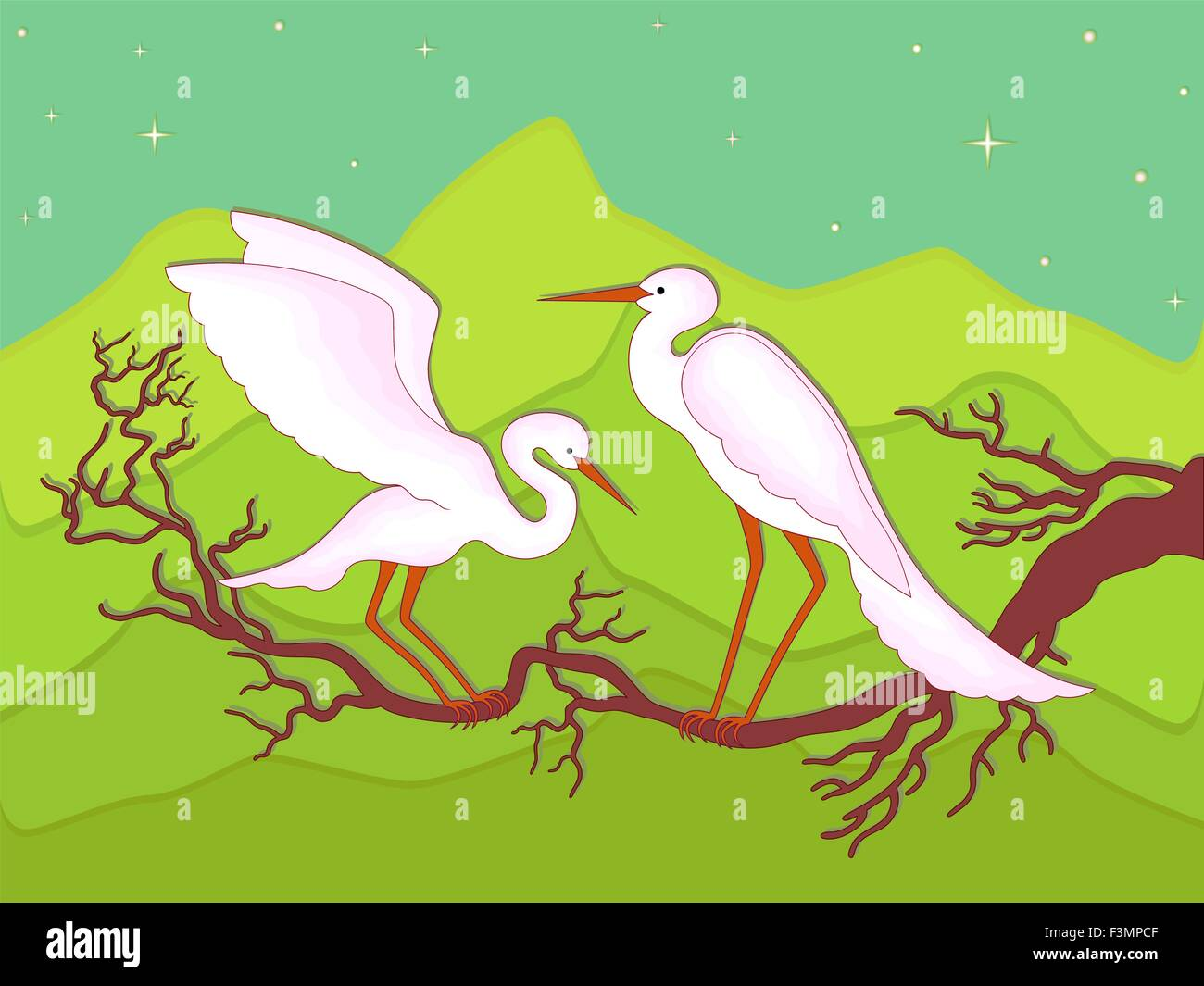 Pair of storks on a branch in early spring night against the backdrop of mountain scenery, hand drawing vector illustration - Stock Vector