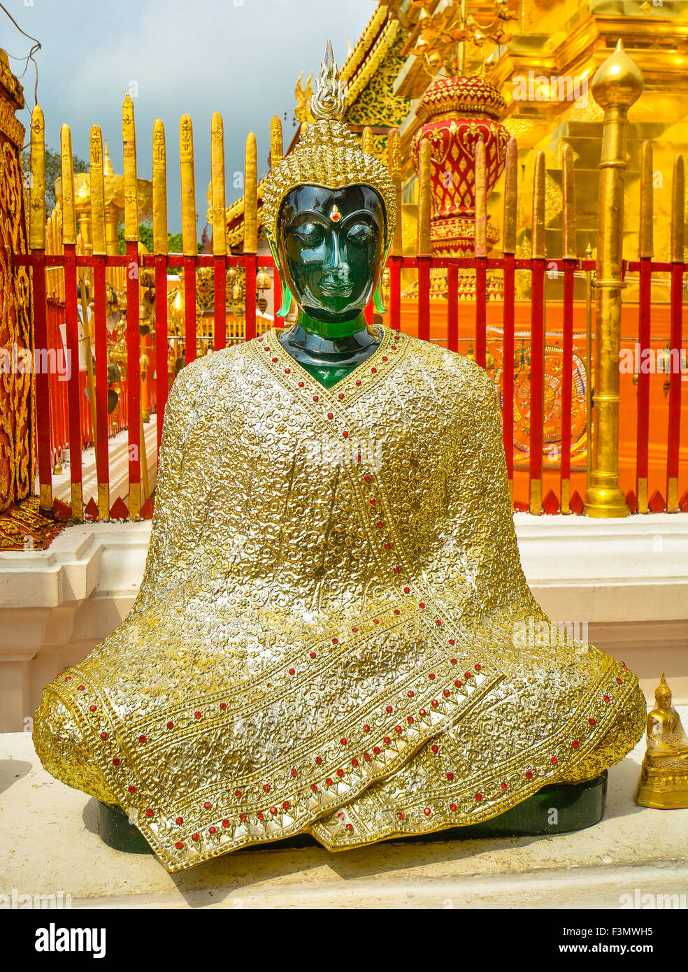 Jade Buddha Clad in Gilded Cloth, Wat Phra That Doi Suthep - Chiang Mai, Thailand - Stock Image