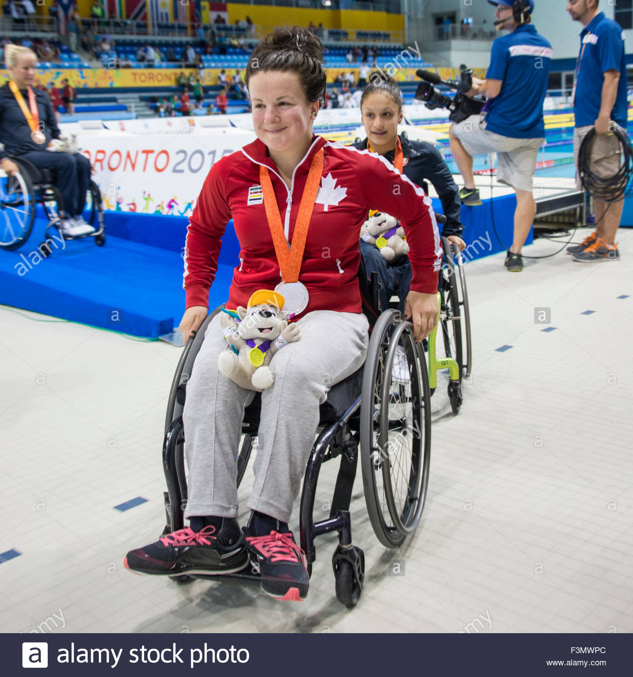 Canadian female athlete winner of the Silver Medal during the Toronto Parapan Am Games. Paralympic Games. - Stock Image