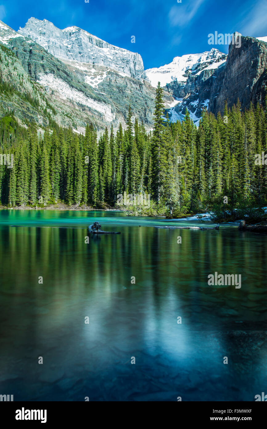 One of the many iconic views of Moraine Lake in Banff. Stock Photo