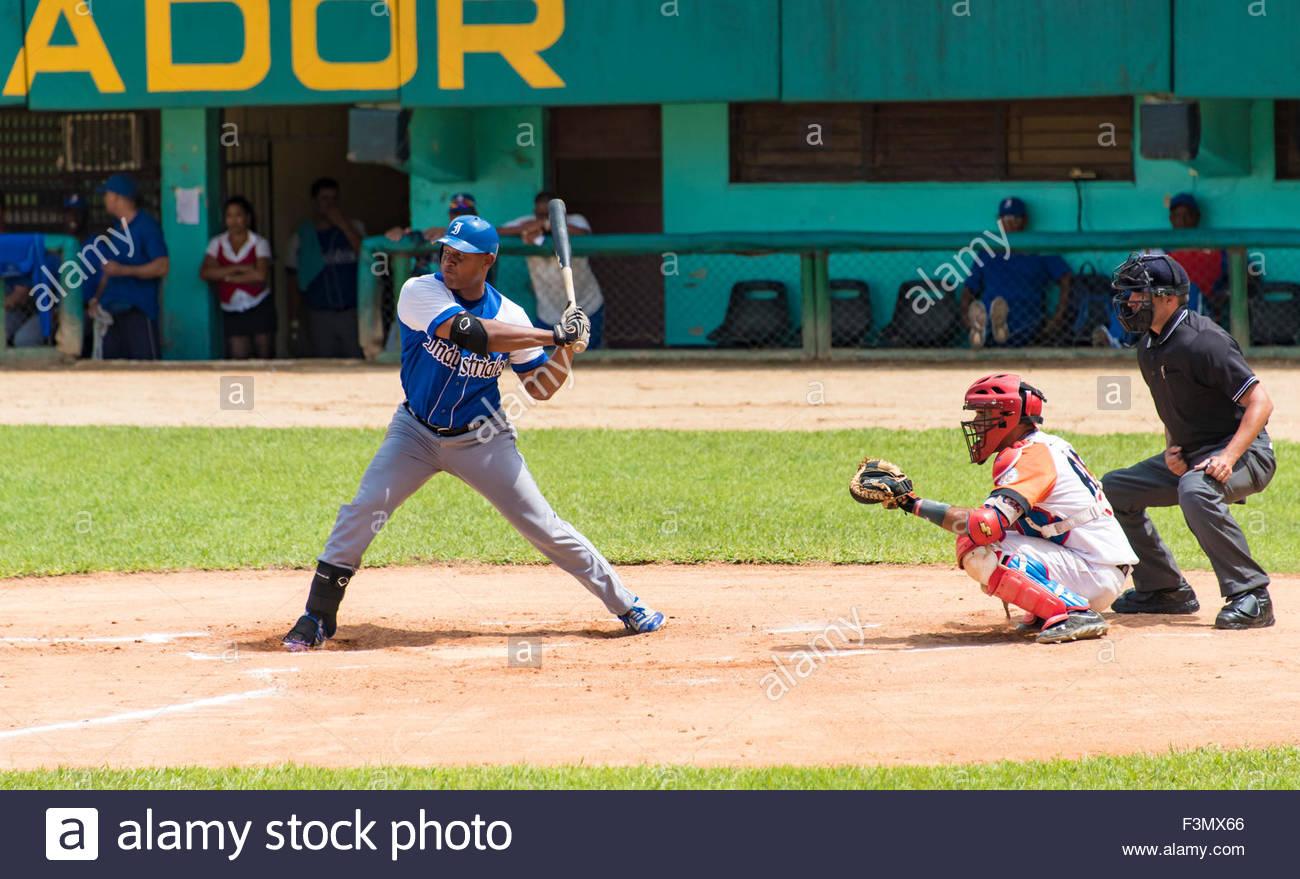 Cuban Baseball: Industriales vs Villa Clara. Stayler Hernandez at bat - Stock Image