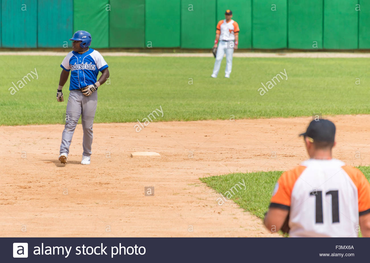 cuban baseball, team Industriales vs Villa Clara, Torriente pulls the first run with a double to the left field - Stock Image