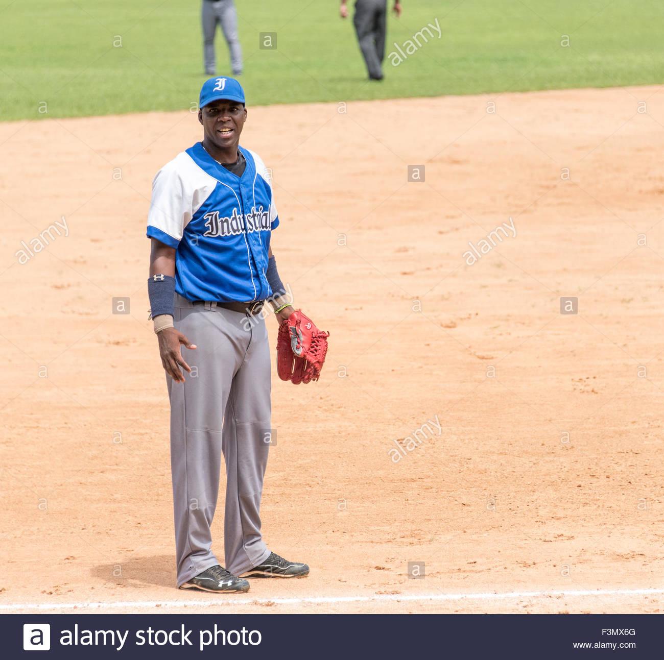 cuban baseball, team Industriales vs Villa Clara,Rudy Reyes wearing the Industriales colors - Stock Image