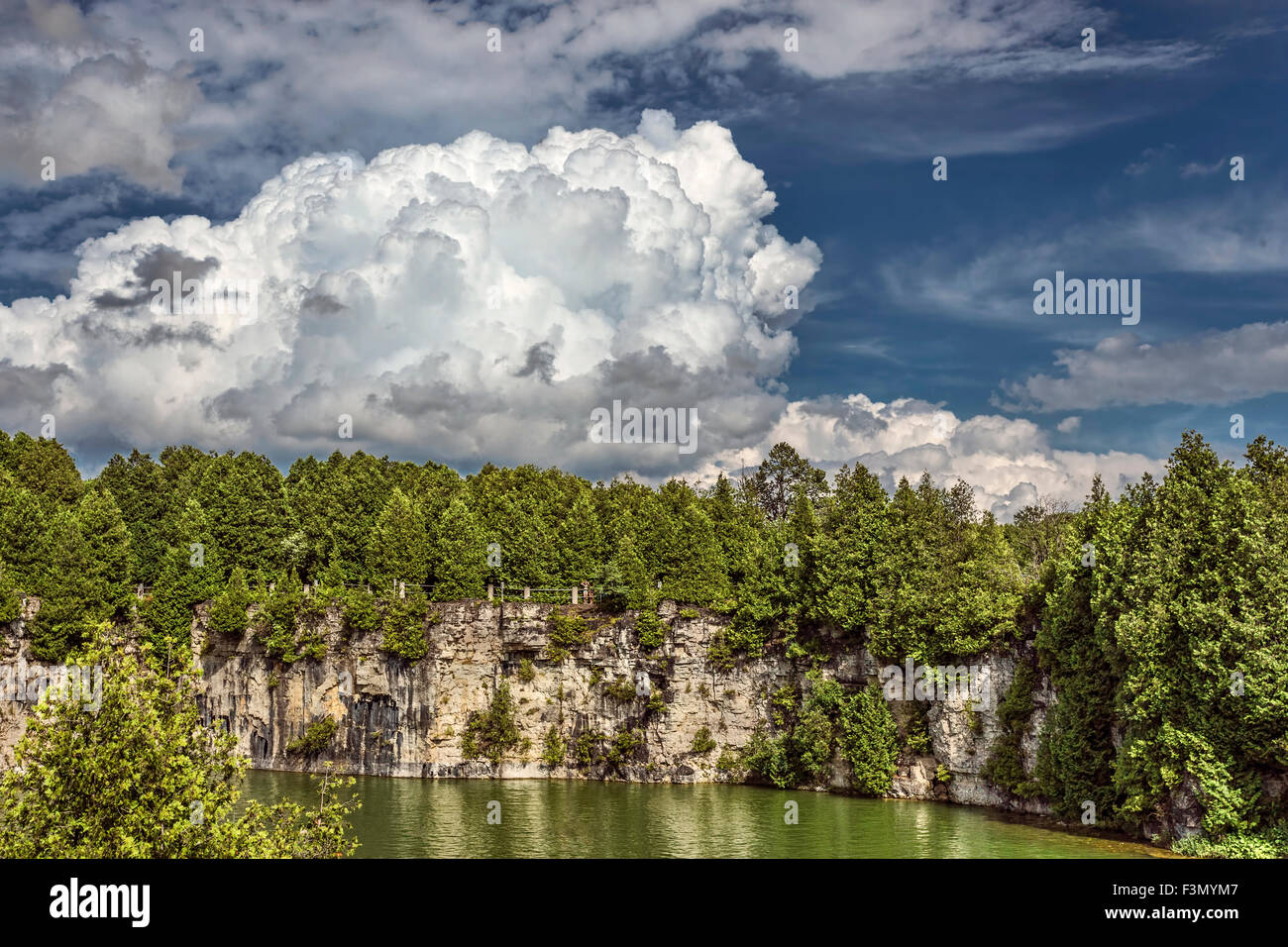 Elora Quarry on a hot summer day. - Stock Image