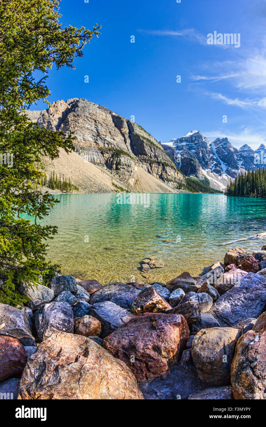 Another impressive view of iconic Moraine Lake in Banff. Stock Photo