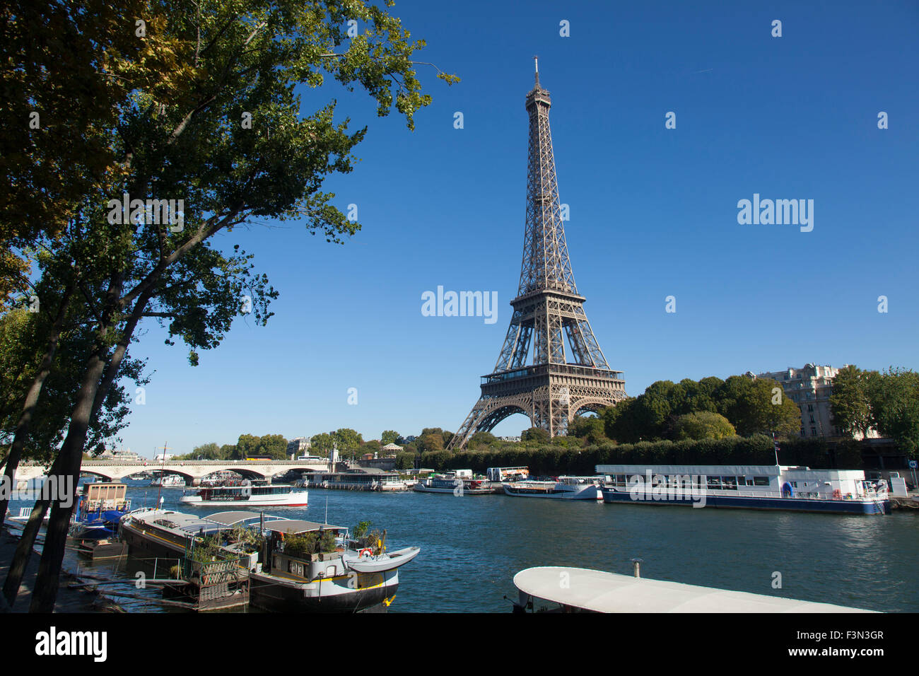 Eiffel Tower and River Seine in Paris - Stock Image