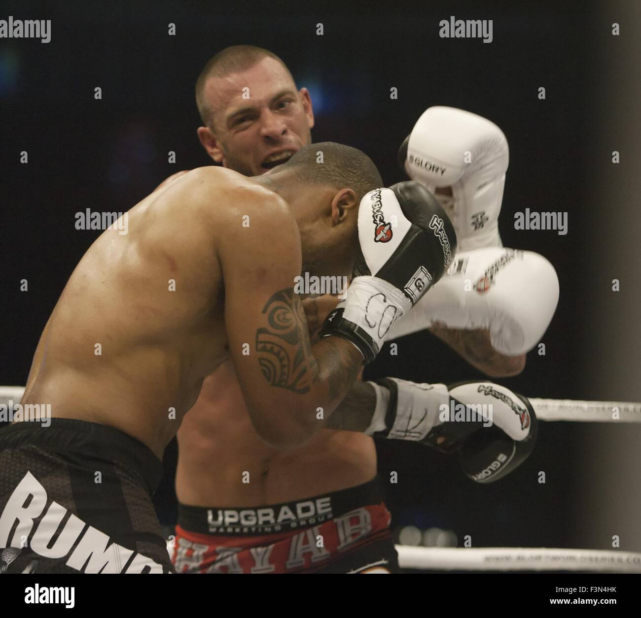 Denver, Colorado, USA. 9th Oct, 2015. Glory 24 fighter JOE SCHILLING, top, lands a punch to the side of JASON WILNIS - Stock Image