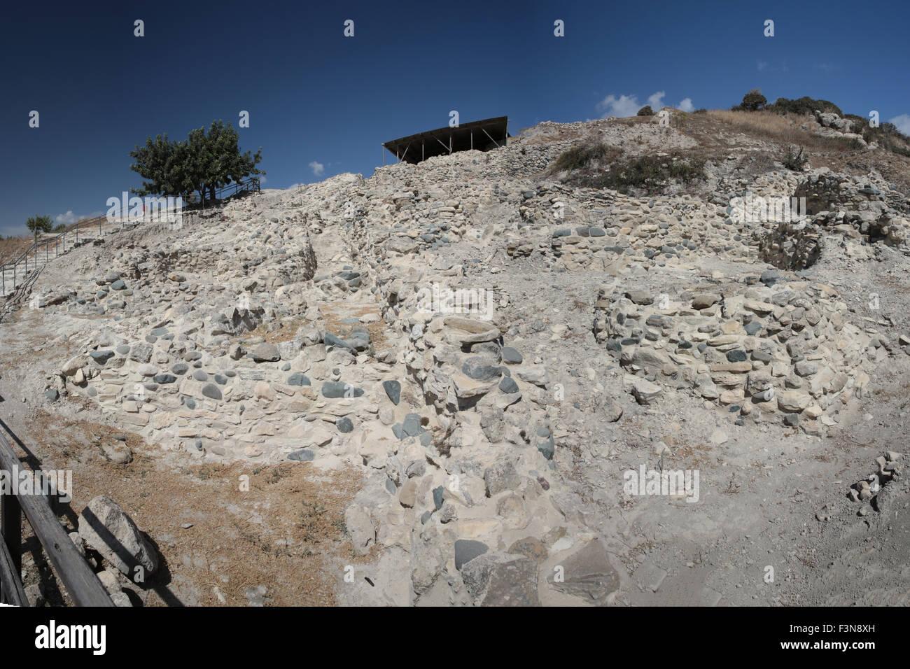 The Neolithic settlement of Choirokoitia in Cyprus Stock Photo