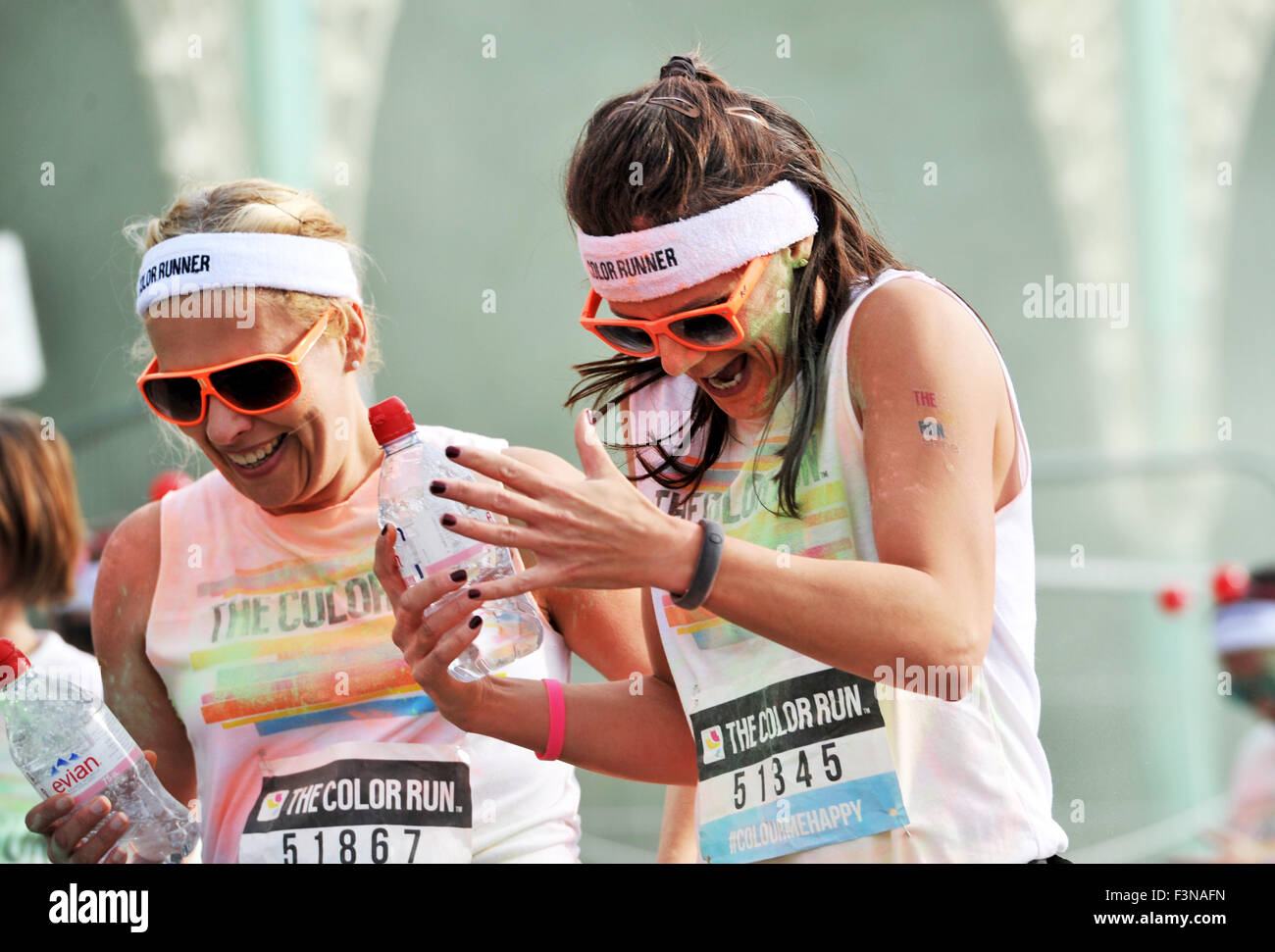 Brighton Sussex UK Saturday 10th October 2015 - Thousands of people take part in the annual Color Run event on Brighton - Stock Image
