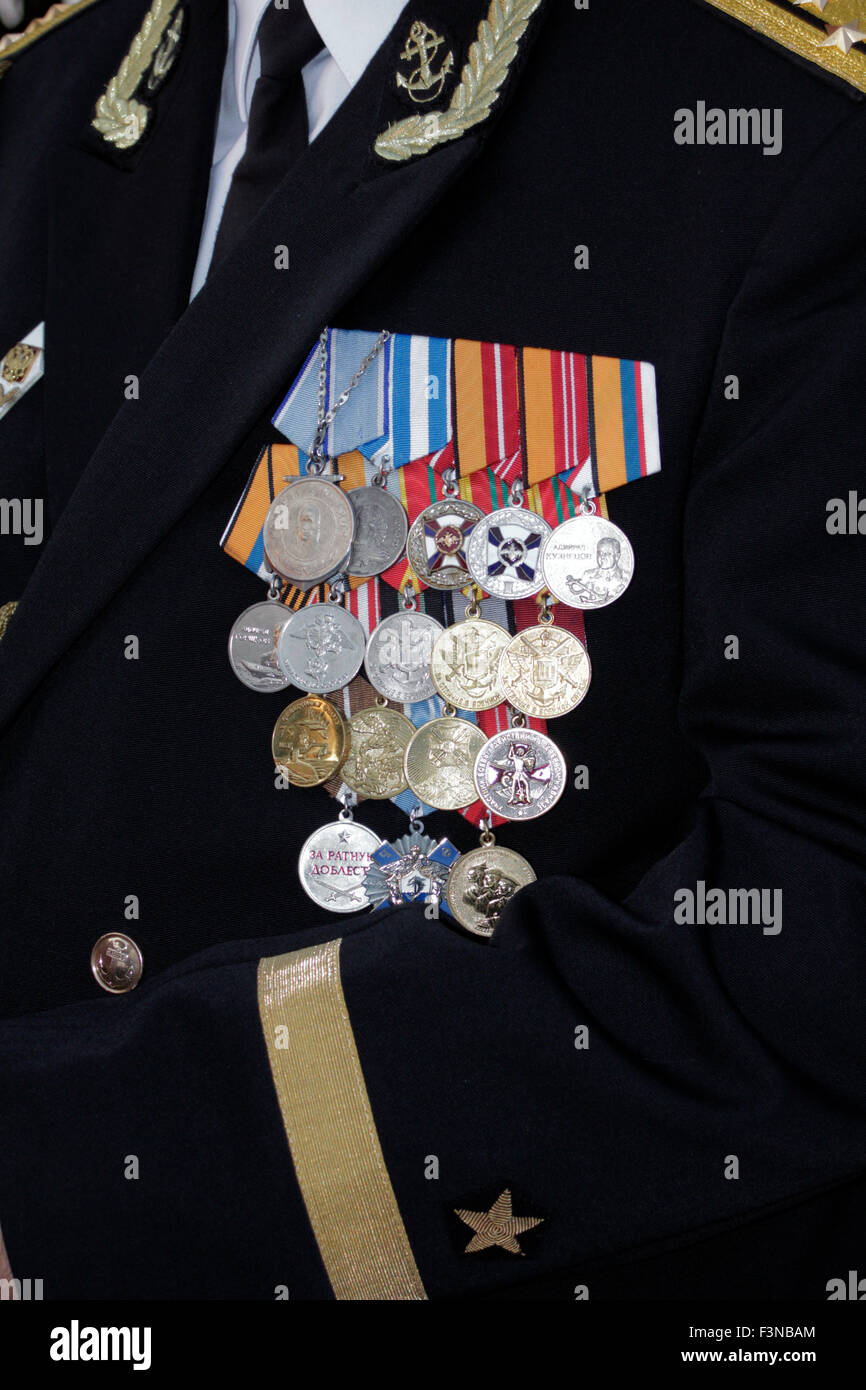 Russian Navy official uniform and medal details. Myrina city, Lemnos island, Greece - Stock Image