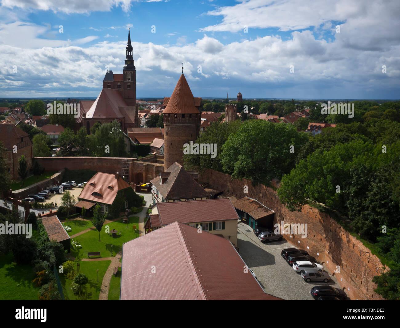 Blick vom Kapitelturm in Tangermünde Stock Photo