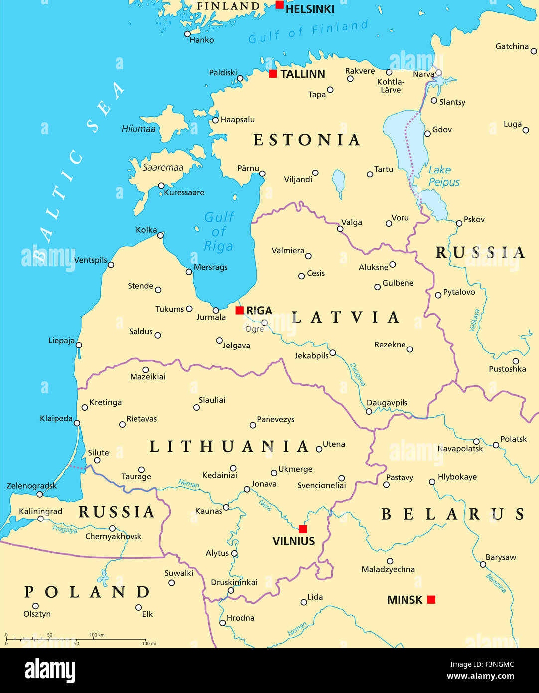 Baltic countries political map Baltic states area with capitals