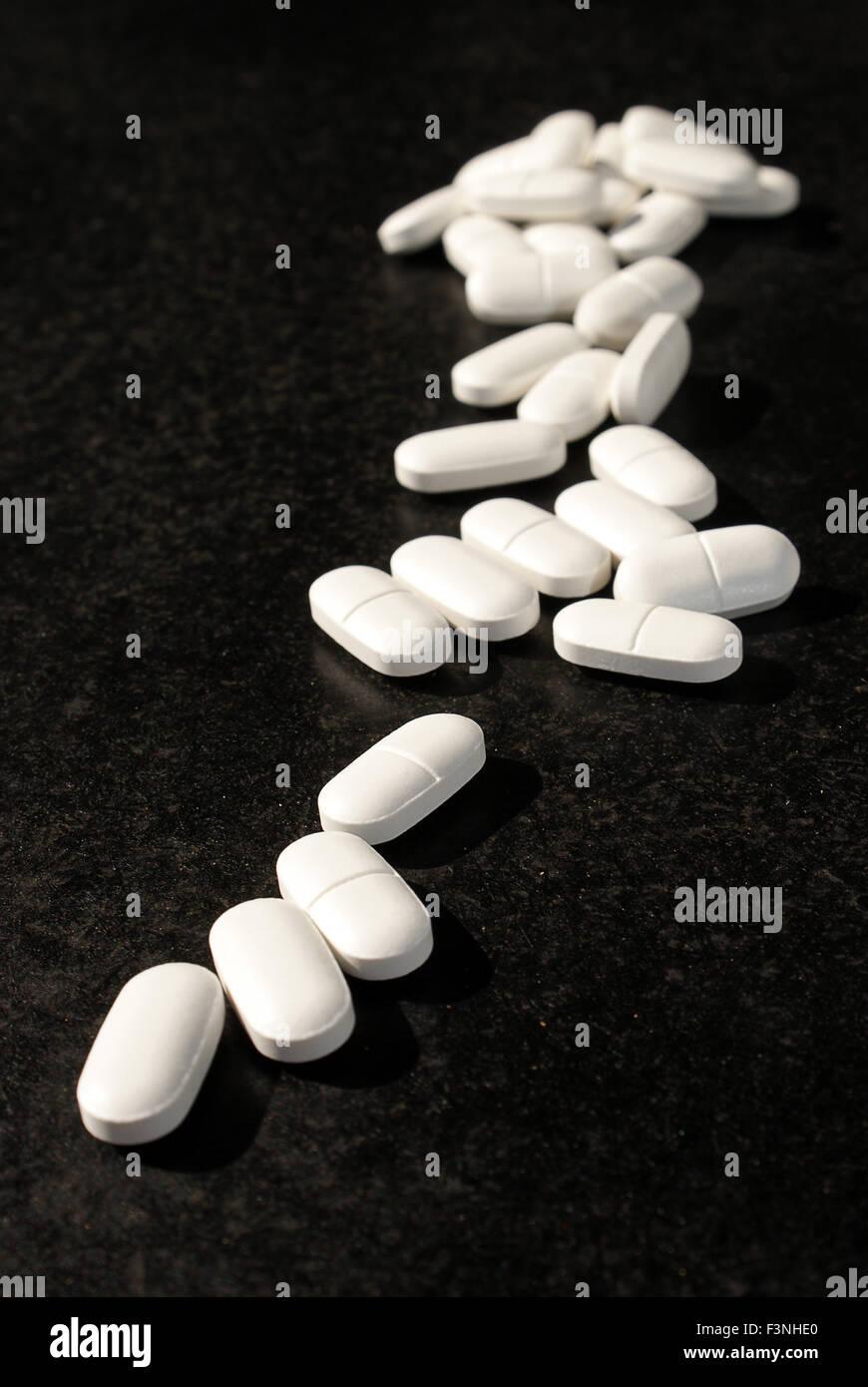 Many pills on prescription - Stock Image