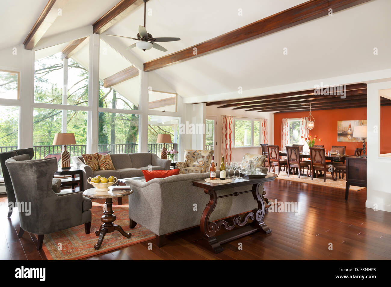 Living room and dining room with high ceiling