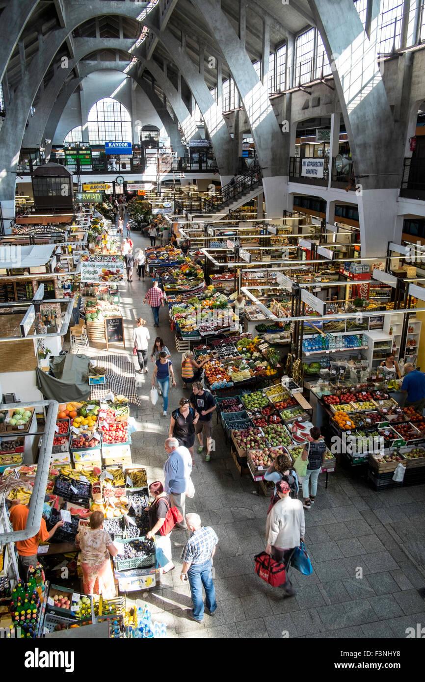 Hala Targowa market shop shopping Wroclaw Poland - Stock Image