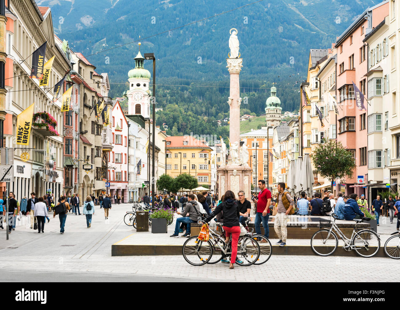 INNSBRUCK, AUSTRIA - SEPTEMBER 22: Tourists in the pedestrian area of Innsbruck, Austria on September 22, 2015. - Stock Image