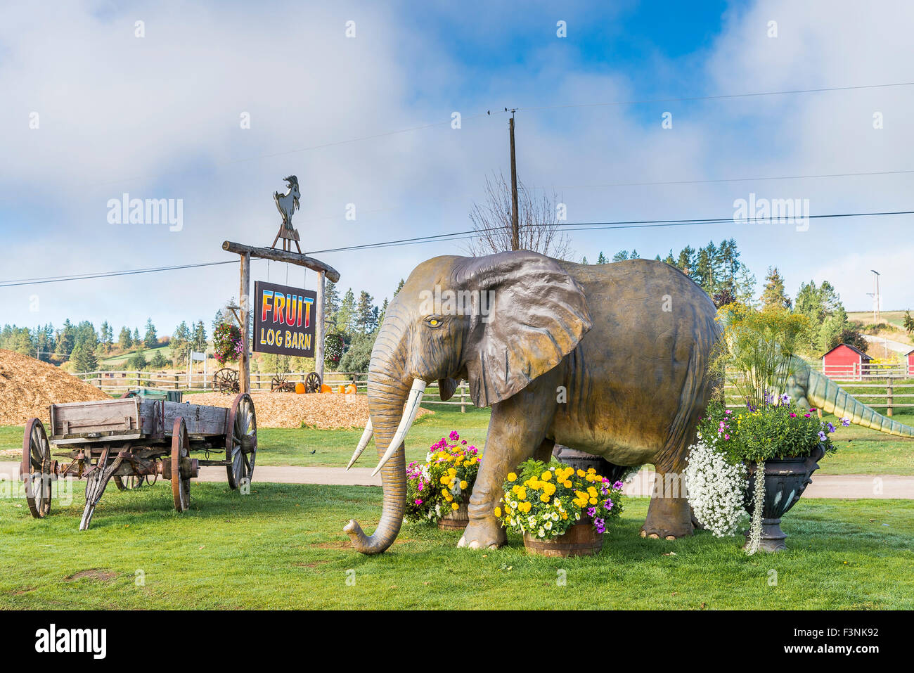 The Log Barn, roadside attraction and store, Spallumcheen near Armstrong, Okanagan Valley, British Columbia, Canada - Stock Image