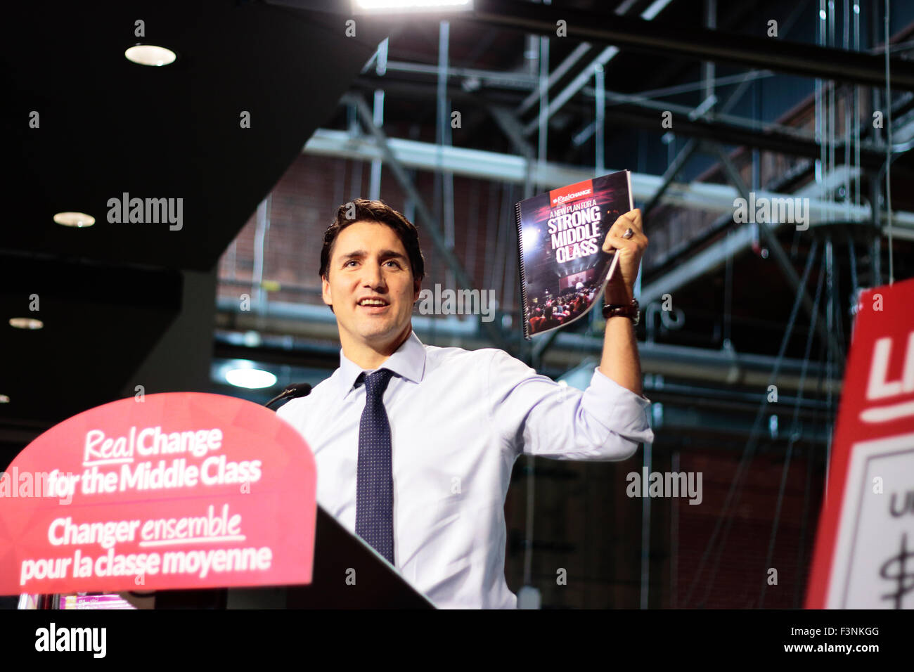 Toronto, Canada, 09th Oct, 2015.  Justin Trudeau, Canadian Liberal Party Leader running for the next Prime Minister, - Stock Image