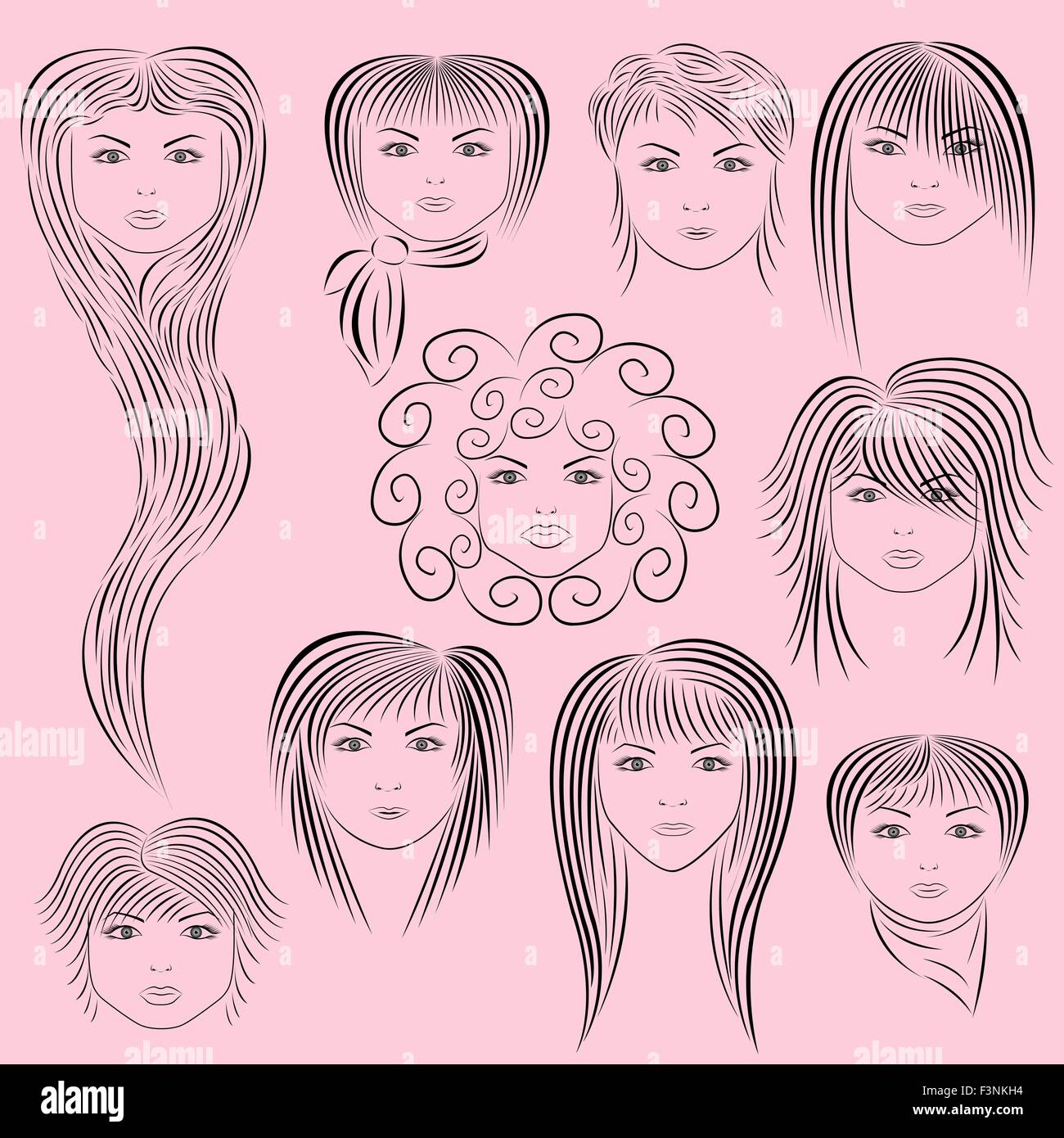 Samples of female hairstyles. Vector illustration hand drawing Stock ...