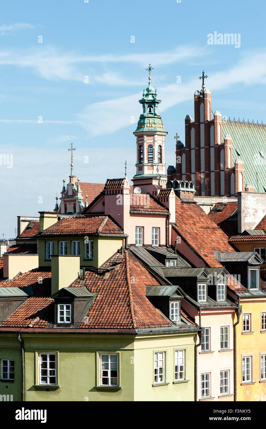 Poland Warsaw old town pretty historic visit - Stock Image