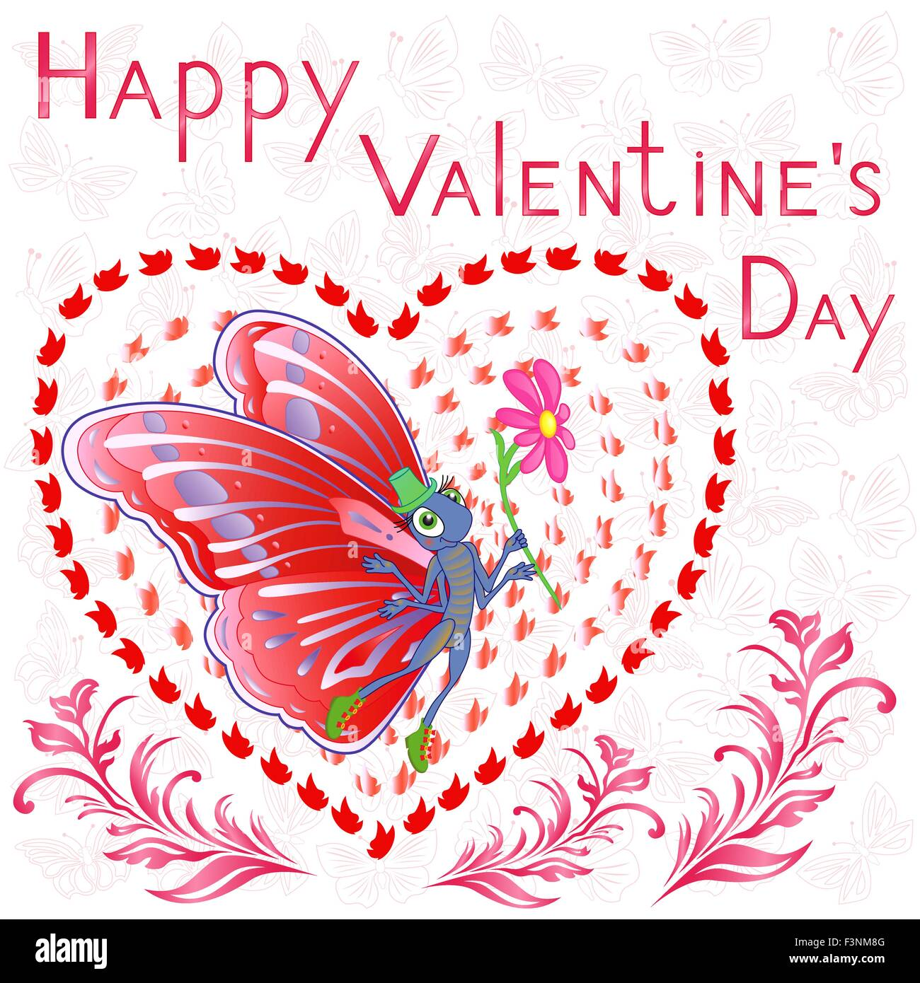Happy Valentine S Day Butterfly With Flower On The Background Of