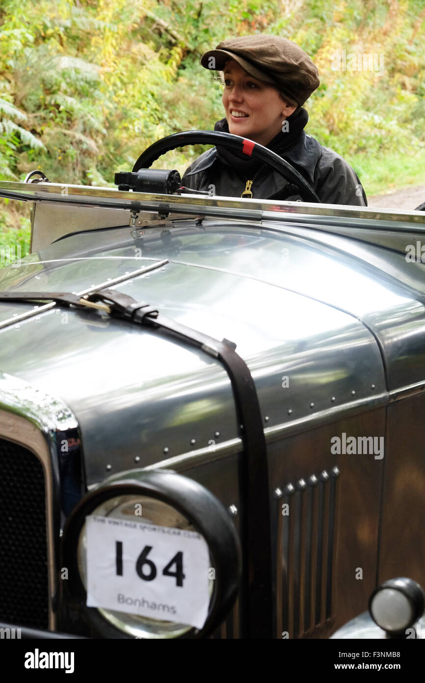 New Radnor, Powys, Wales - Saturday 10th October 2015 - The Vintage Sports Car Club ( VSCC ) hill climb trial challenge Stock Photo