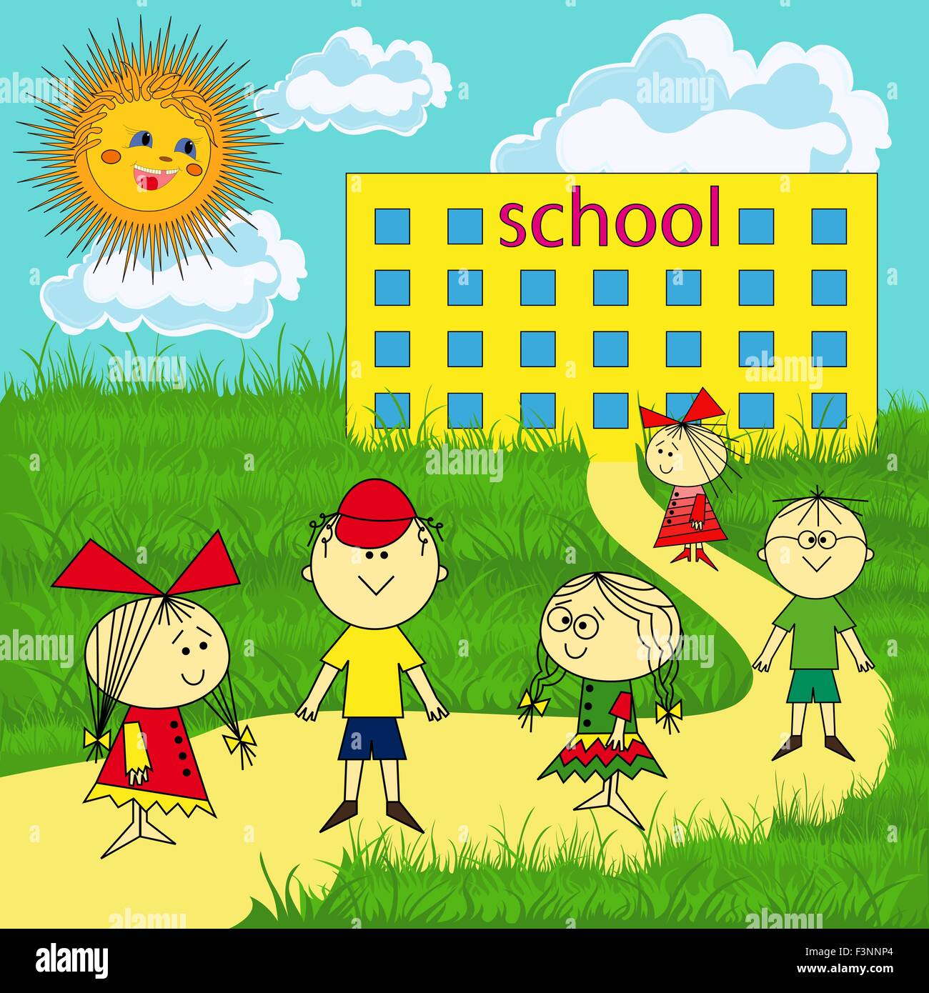 Small group of children near the school on a sunny day, hand drawing vector illustration - Stock Vector