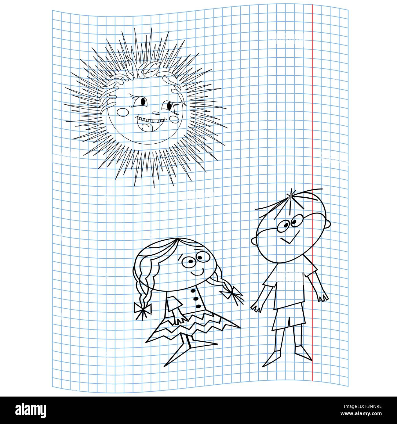 Schoolgirl and Schoolboy on a notebook sheet, vector illustration hand drawing - Stock Vector