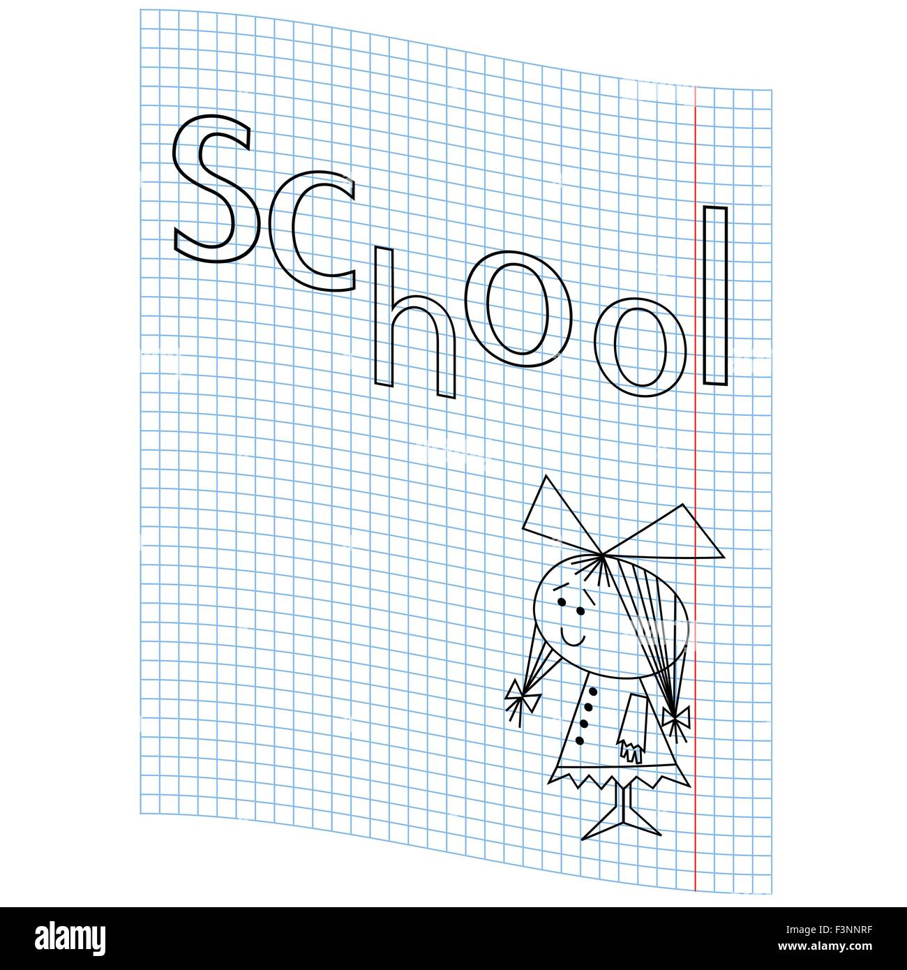 Schoolgirl and the word school on a notebook sheet, vector illustration hand drawing - Stock Vector