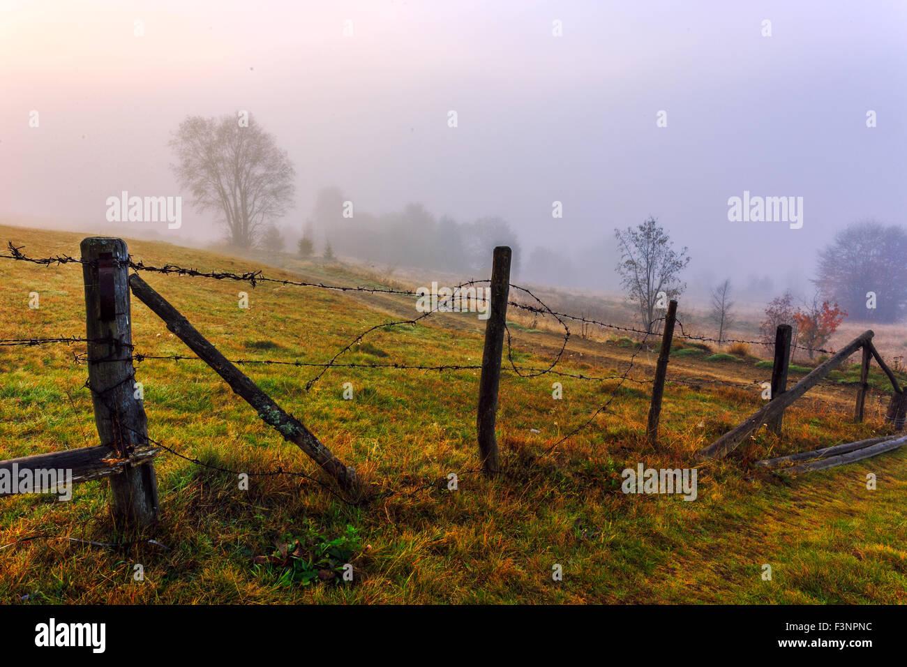Colorful autumn landscape scene with fence in Transylvania mountain-Romania - Stock Image