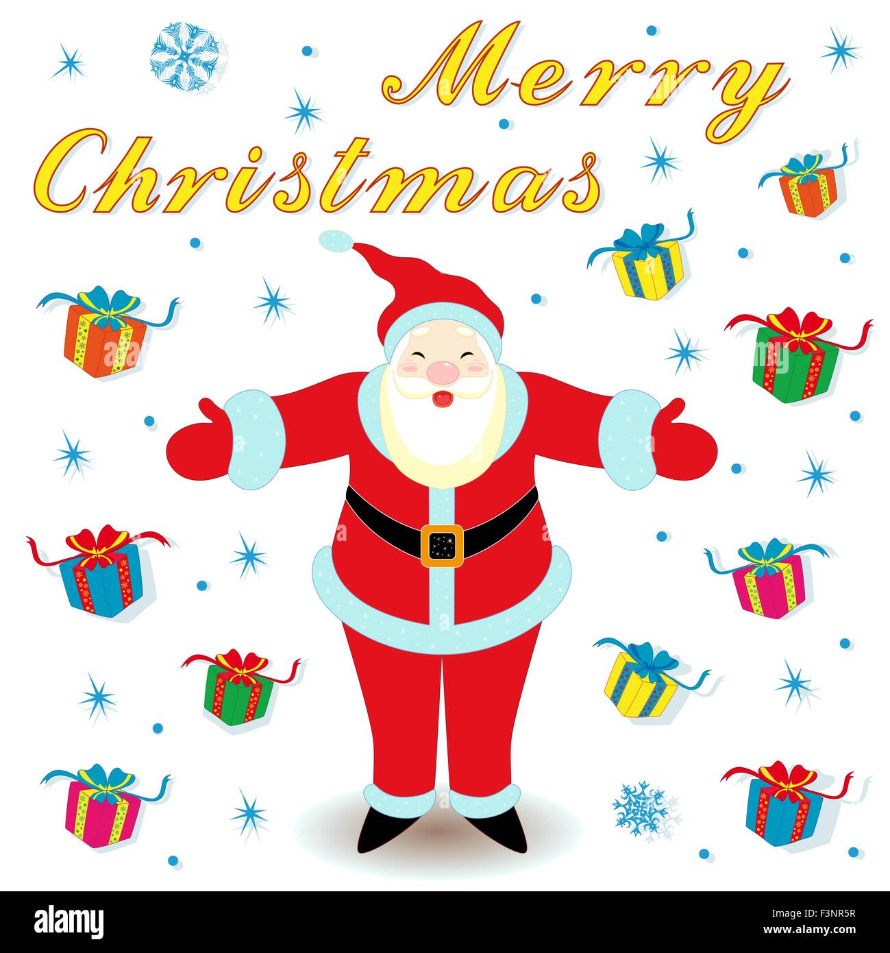 Christmas Day Drawing Images.Merry Christmas With Happy Santa Claus And Many Gifts Hand