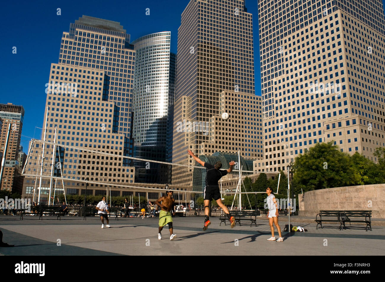 Handball near the World Financial Center. In the past was connected to the World Trade Center by a bridge. It houses - Stock Image