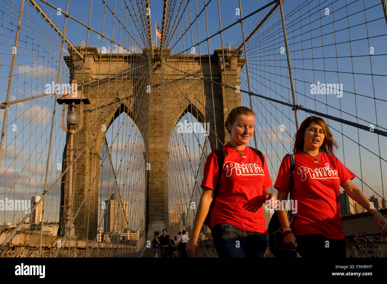 The Brooklyn Bridge is one of the oldest suspension bridges in the United States. 1.825my has a length of connecting - Stock Image