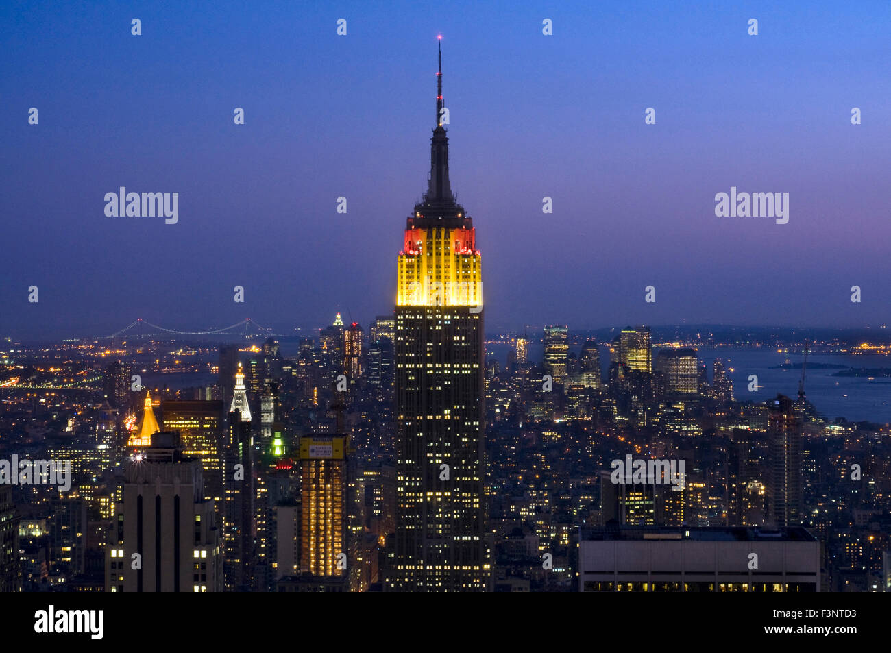 Empire State Building seen from Top of the Rock at Rockefeller Center. 350 Fifth Ave corner of 34th St. The Empire - Stock Image