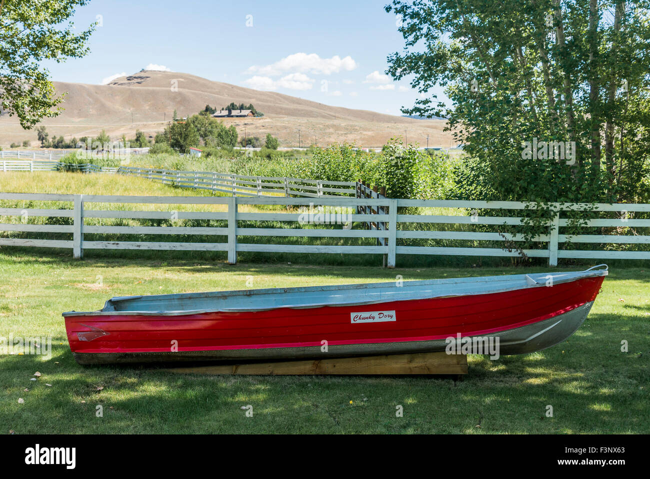 Chunky Dory, boat once used by Woodwards Department store owner, Chunky Woodward. Douglas Lake Cattle Company, , Stock Photo