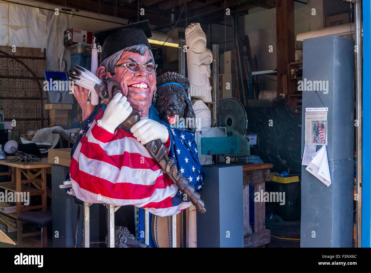 Banned caricature protest sculpture by George Rammell, art instructor at Capilano University, of university spresident - Stock Image