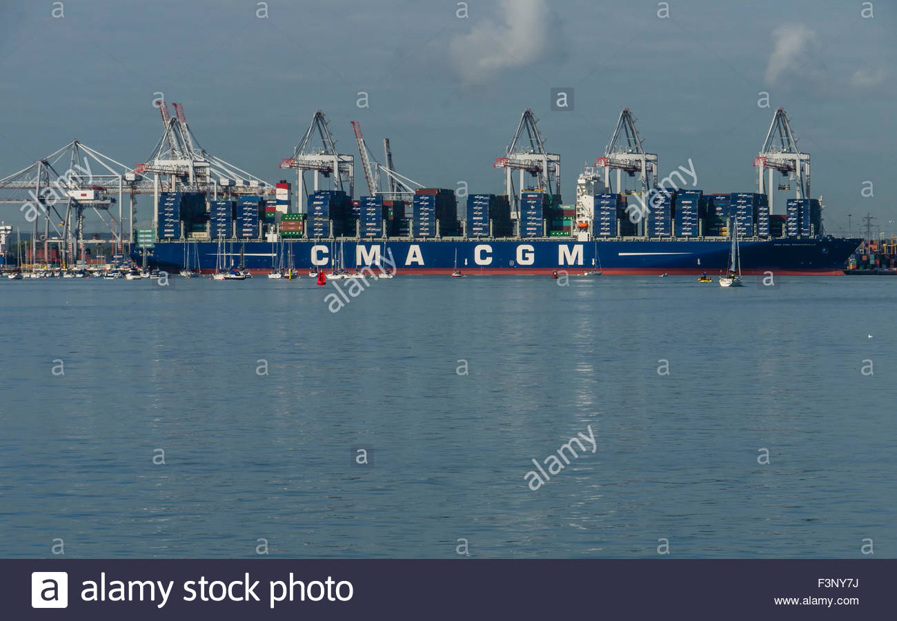 Southampton Hampshire England Oct 2015 The CMA CGM BOUGAINVILLE, the worlds largest container ship sailing under - Stock Image