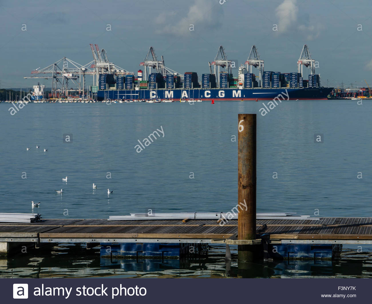 Southampton Hampshire England Oct 2015 The CMA CGM BOUGAINVILLE, the world largest container ship sailing under - Stock Image