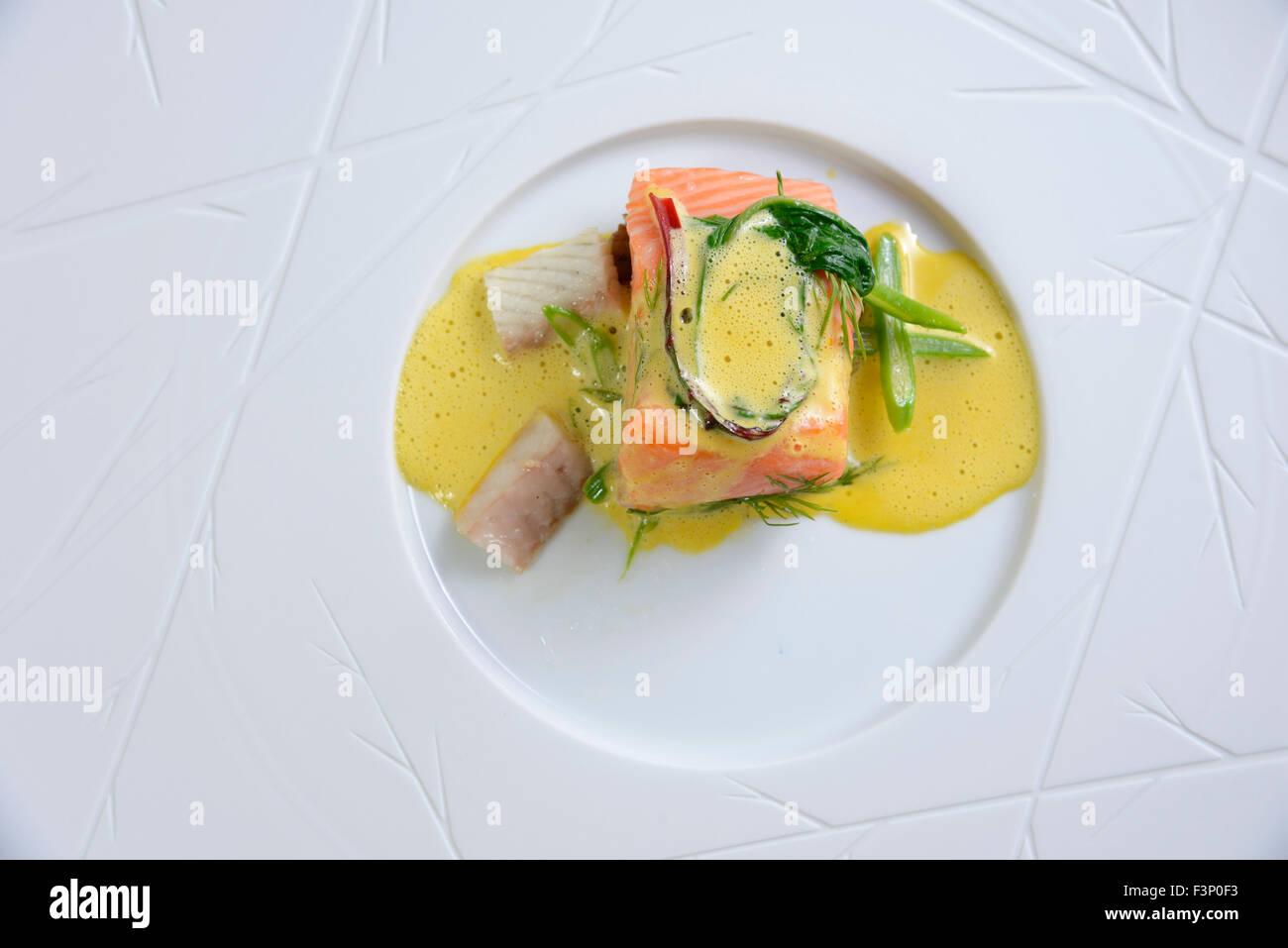 Nouvelle cuisine gourmet salmon fish dish Stock Photo