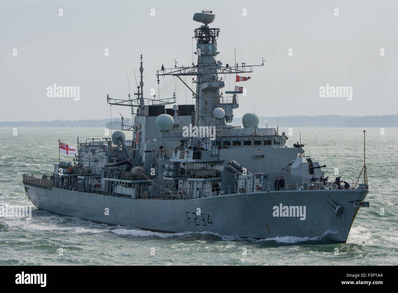 The Royal Navy Type 23 Frigate, HMS Iron Duke, arriving at Portsmouth, UK on 11/9/15. The vessel is currently a - Stock Image