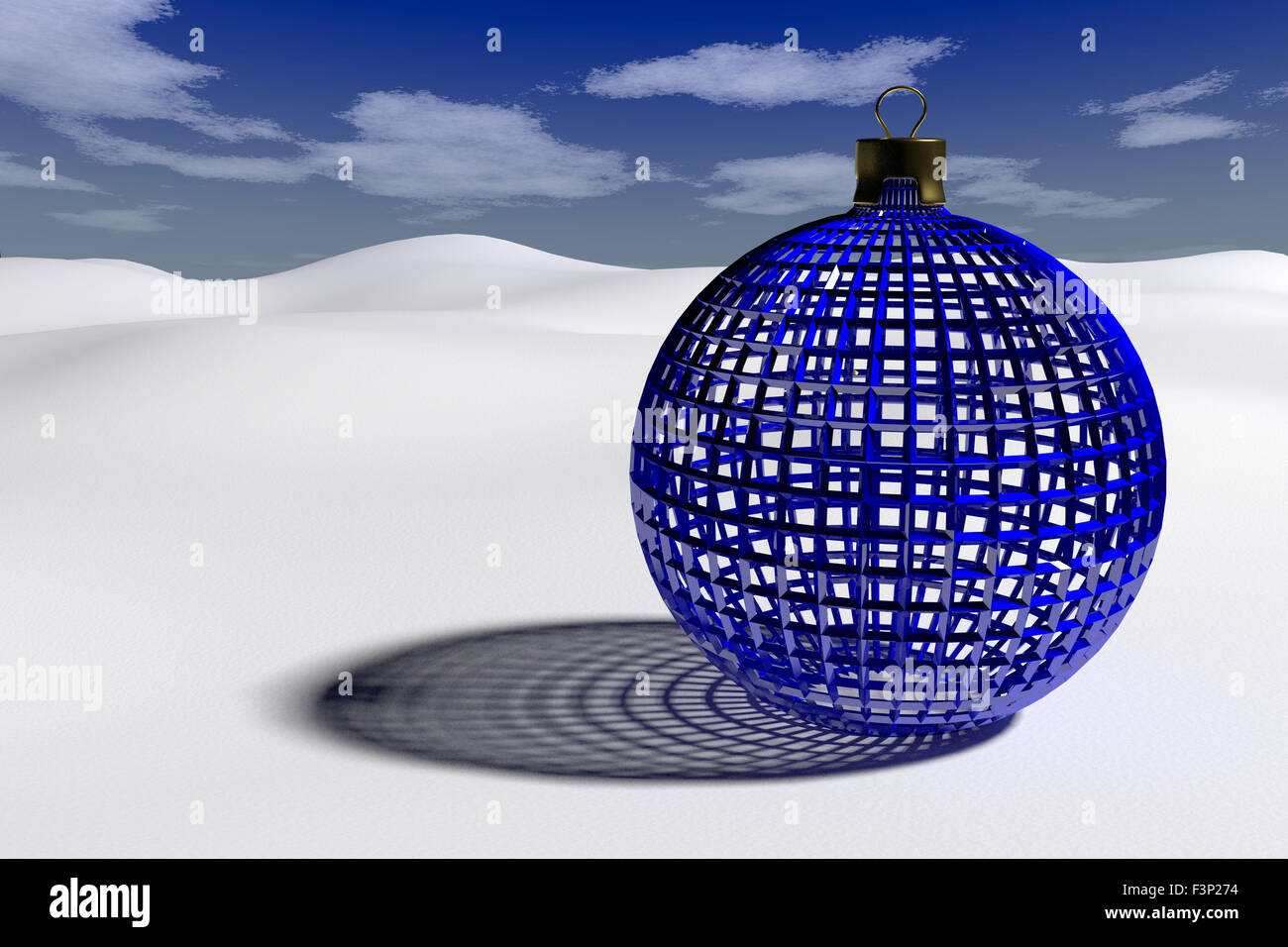rendered blue glossy openwork christmas bauble on the clear snow - Stock Image