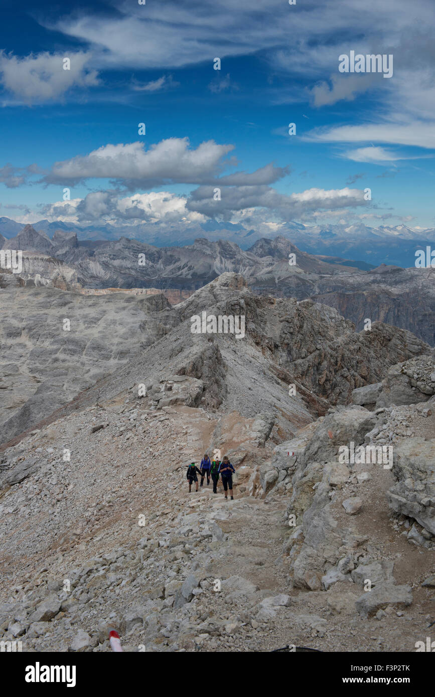 Climbers heading to the summit of Piz Boe in the Sella Group of the Dolomites of Italy Stock Photo