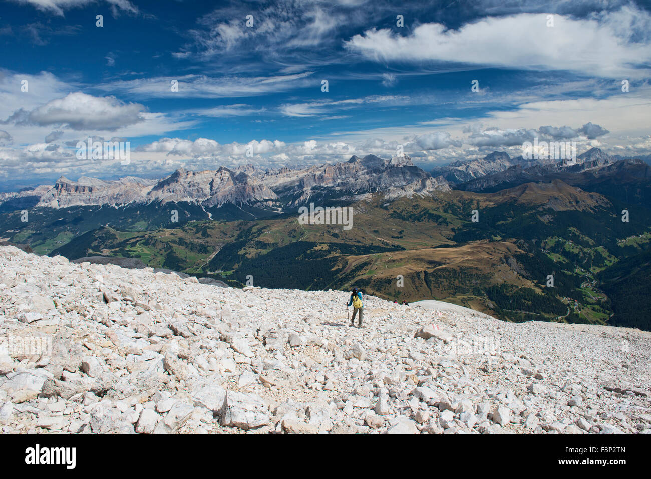 Descending from the summit of Piz Boe in the Sella Group of the Dolomites of Italy Stock Photo