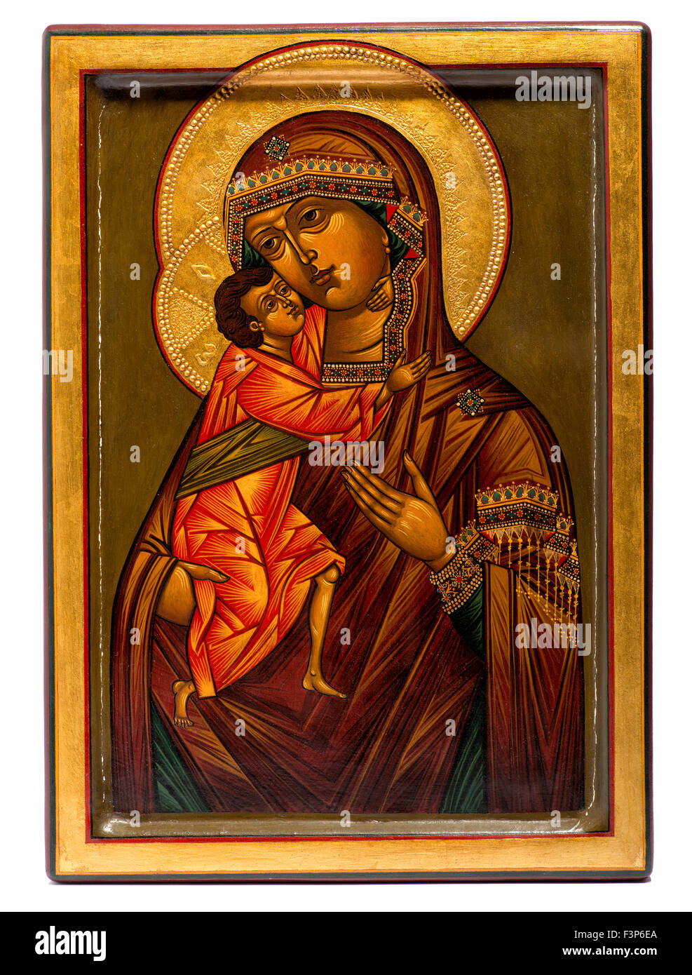 Wooden painted religious Christian icon of the Virgin Mary and Jesus - Stock Image