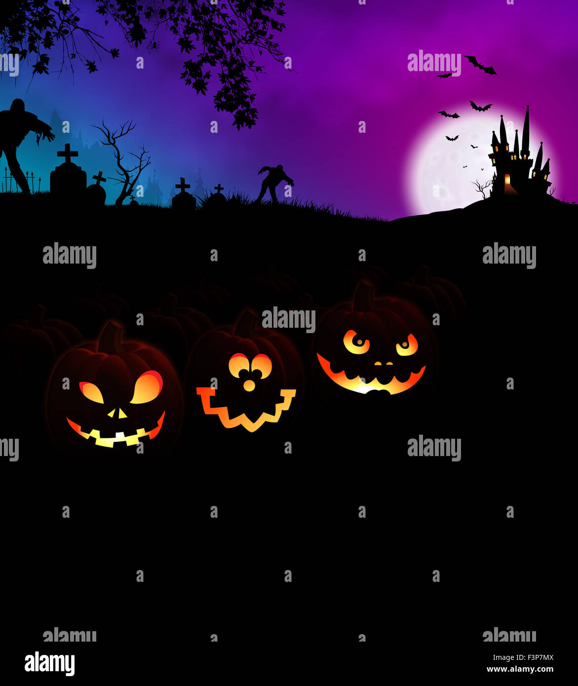 Halloween Scary Night Party Concept with glowing Jack O Lantern pumpkins at cemetery and monsters, horror haunted - Stock Image