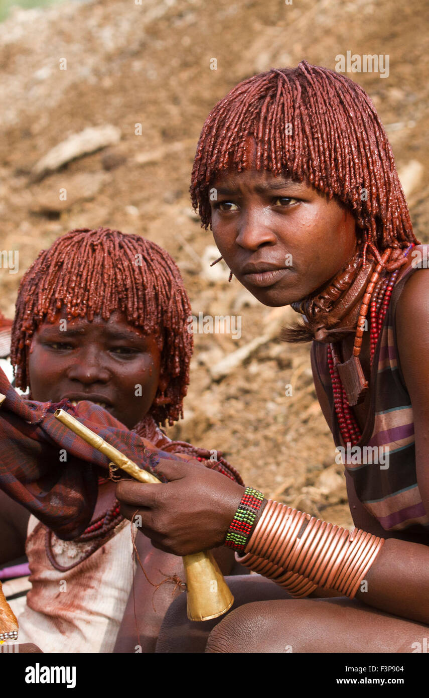 Africa, Ethiopia, Omo River Valley Hamer Tribe woman. The hair is coated with ochre mud and animal fat - Stock Image